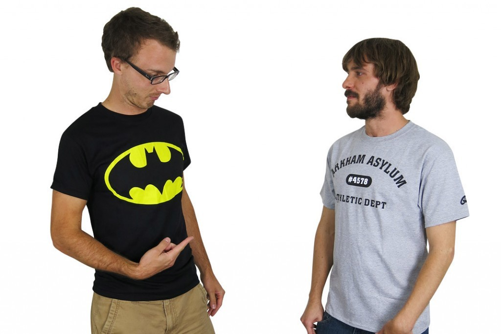 Batman Traditional Symbol T-Shirt, $18.99; Batman Arkham Asylum Athletic Dept. T-shirt, $21.99