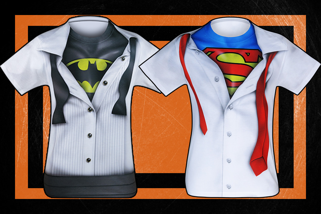 Check out these awesome Batman and Superman Sublimated Costume T-Shirts!