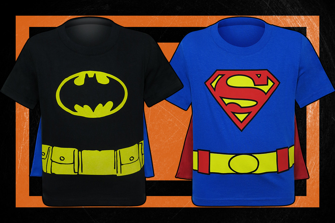 Check out these awesome Batman and Superman costume t-shirts for kids!