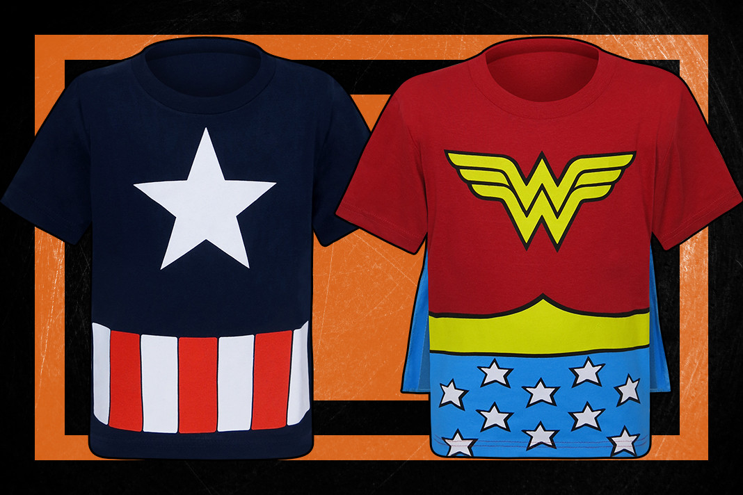 Check out these awesome Captain America and Wonder Woman Costume T-Shirts for kids!