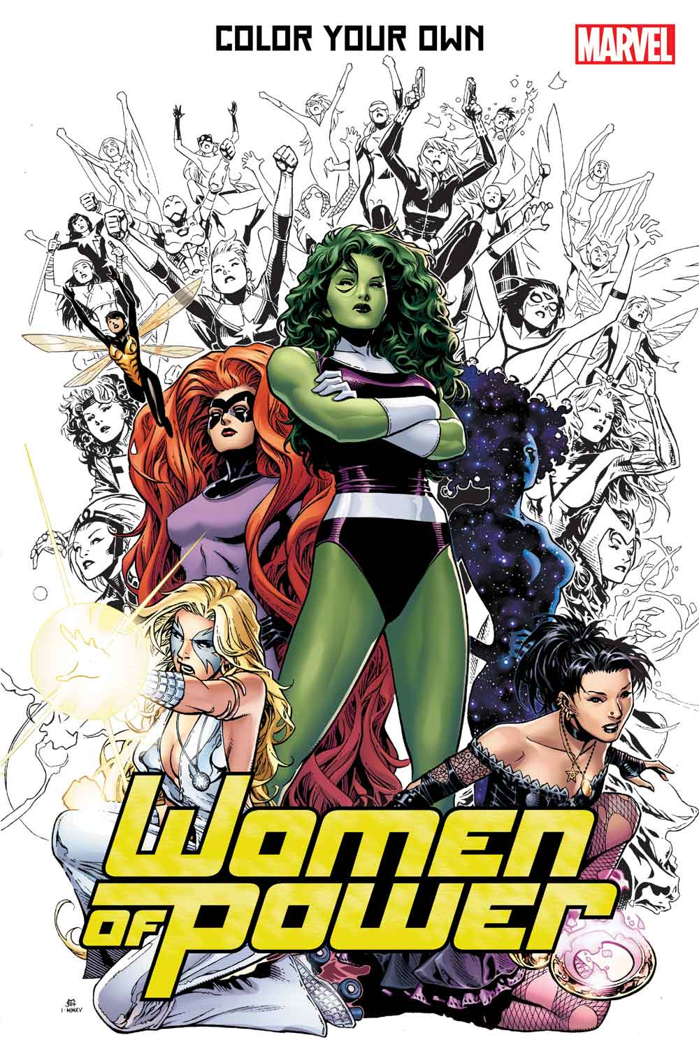 color your own women of power - Marvel Coloring Book