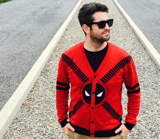 It's the Deadpool Symbol and Straps Men's Cardigan!