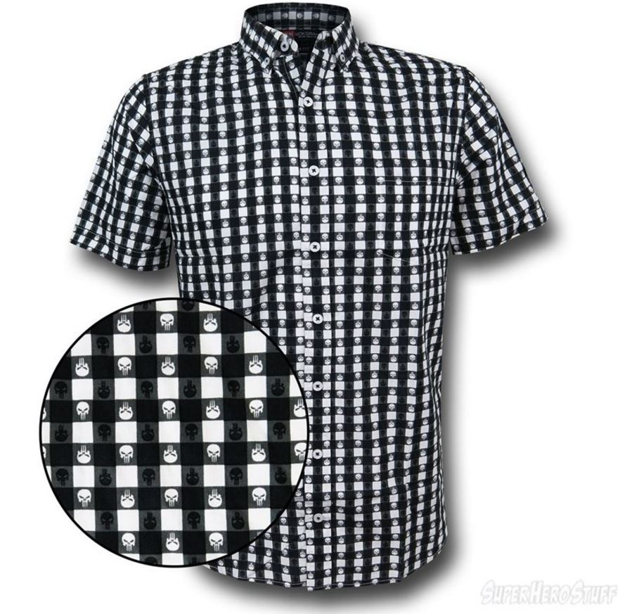 Punisher Plaid Symbol Men's Button Down Shirt!
