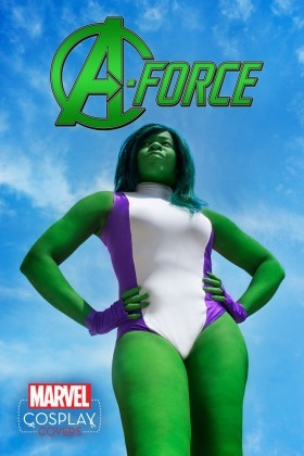 The costume cover for A-Force featuring She-Hulk!