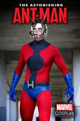 The costume cosplay for the Astonishing Ant-Man