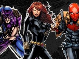 Hawkeye, Black Widow, and Red Hood New Era Hats