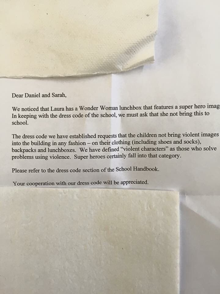 Schools bans Wonder Woman Lunchbox.