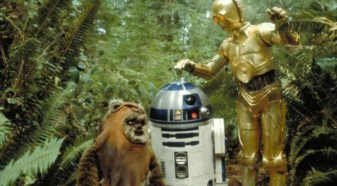 C3PO, R2D2, and an Ewok
