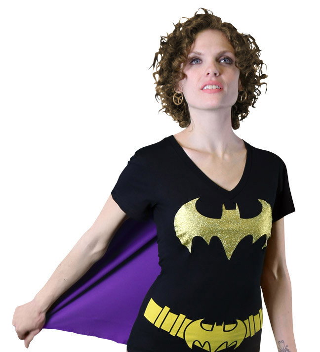 Batgirl Women's V-Neck Caped Costume T-Shirt