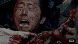 Glenn might still be okay during this gruesome scene from The Walking Dead!