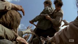 Neck falls on Glenn in The Walking Dead!