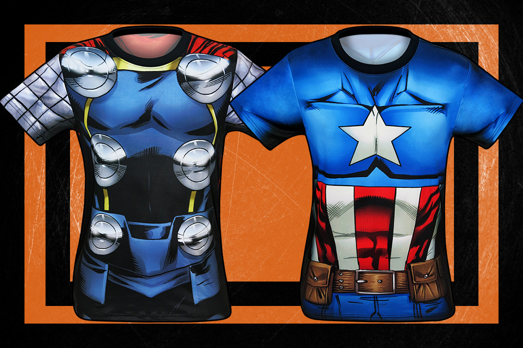 Check out these awesome Thor and Captain America Sublimated Costume Tees!