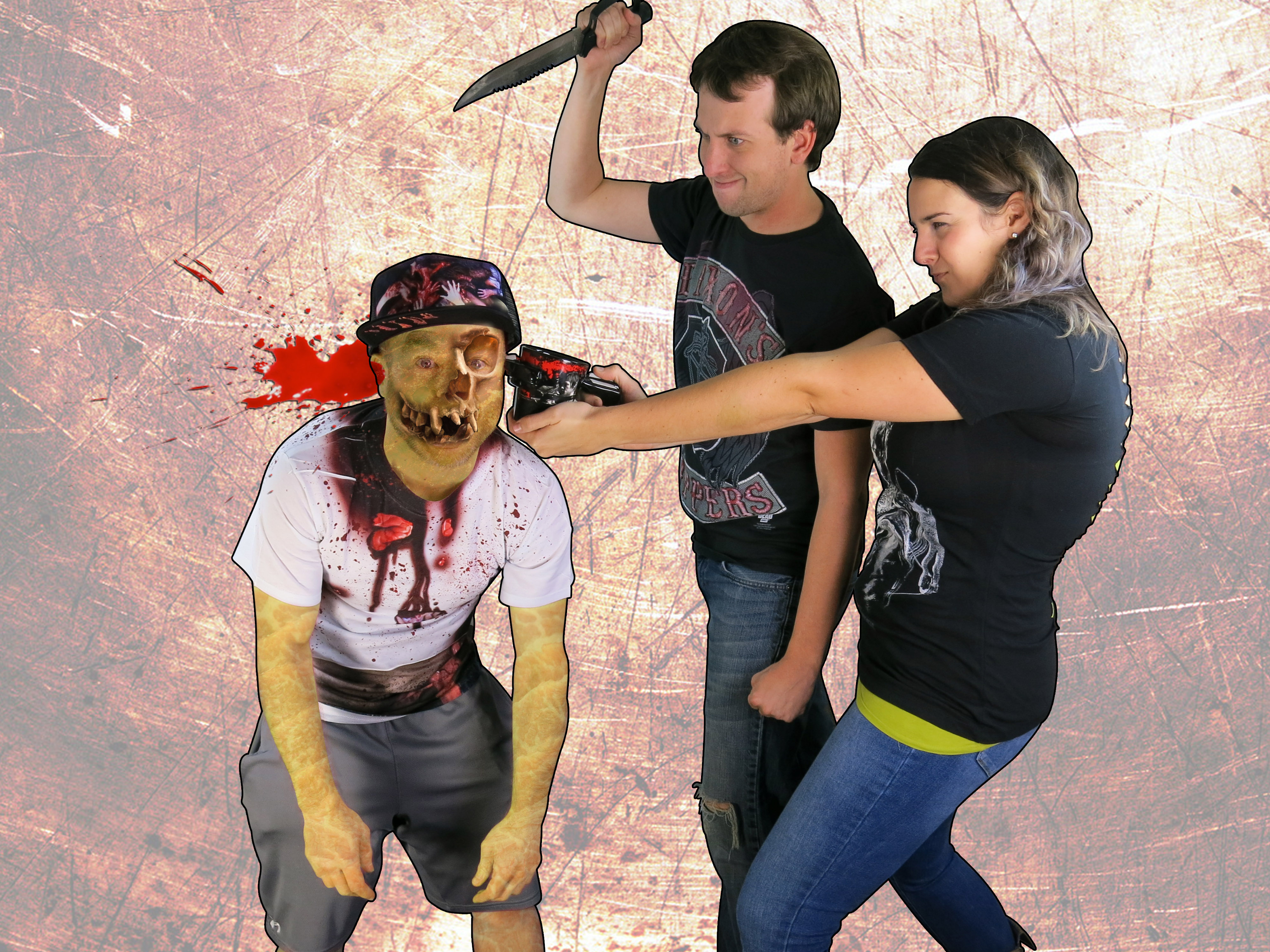 Let's kill the hell out of this zombie utilizing our favorite Walking Dead merchandise!!