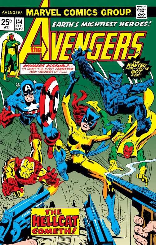 Patsy Walker, aka, Hellcat, fights alongside the Avengers.