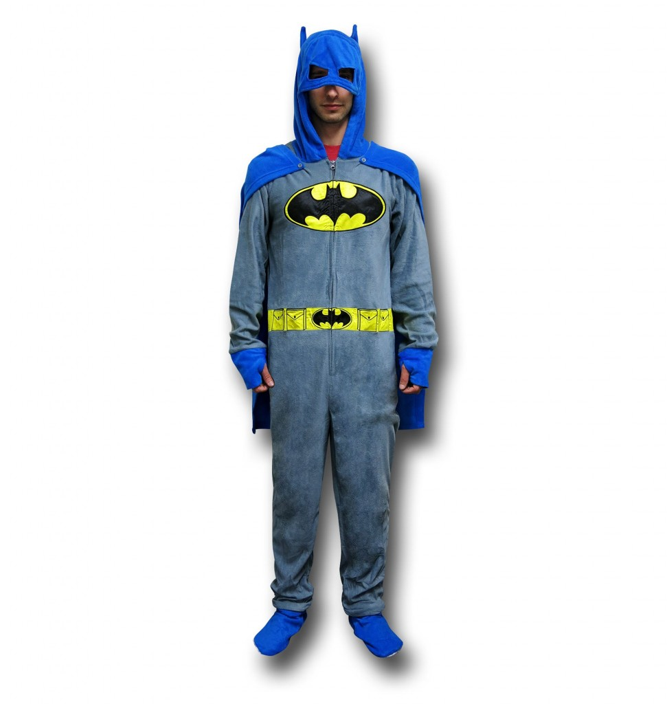 The Batman Gray Union Suit Pajamas w/Cape and Cowl reduced during the Black Weekend Sale!