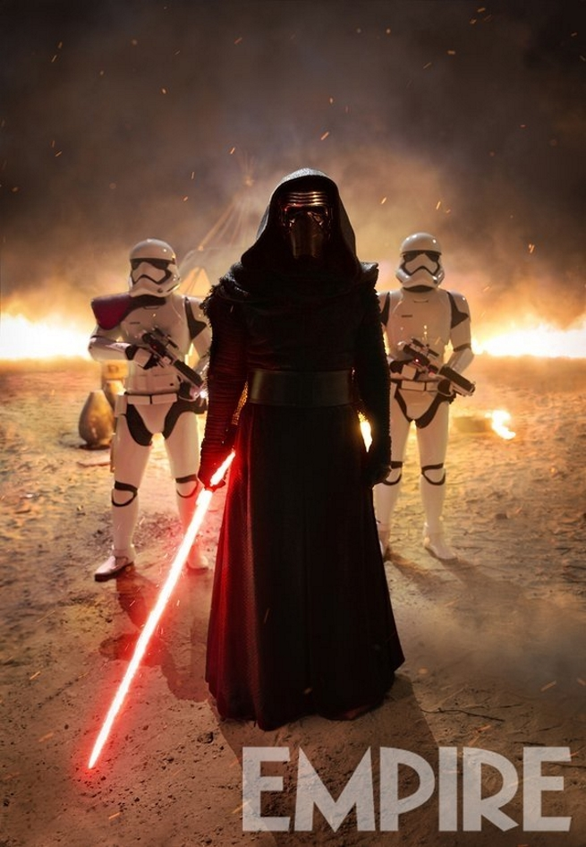 Kylo Ren Flanked by two First Order Troopers