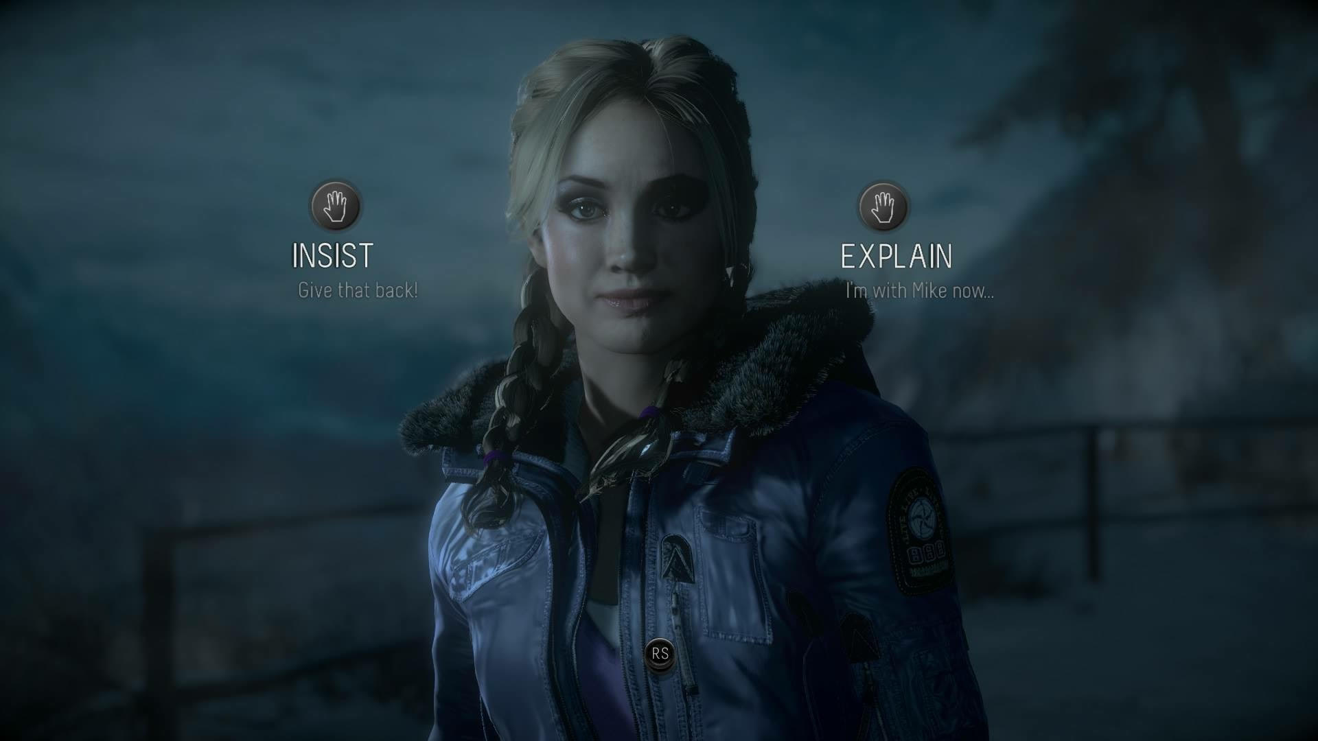 Decision making with Jessica (Meaghan Martin) in Until Dawn.