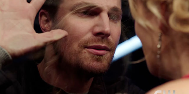 Oliver and Felicity share a moment.