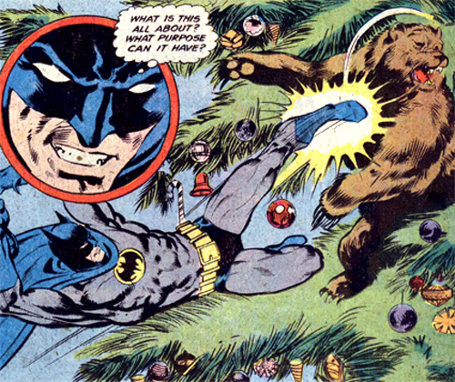 Seriously! Why is Batman fighting a bear in a tree?