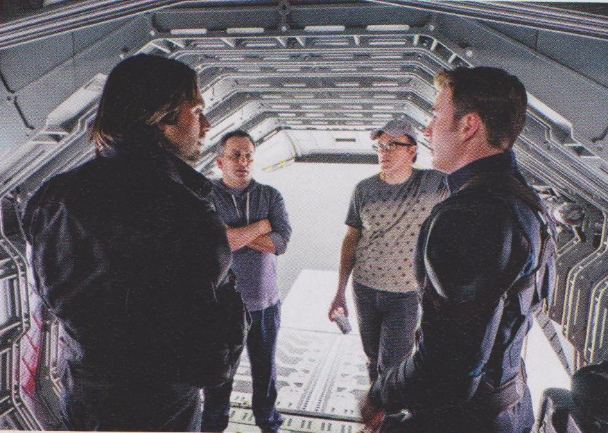 Chris Evans and Sebastian Stan discussing the forthcoming hangar-ejection scene with director's Joe and Anthony Russo!