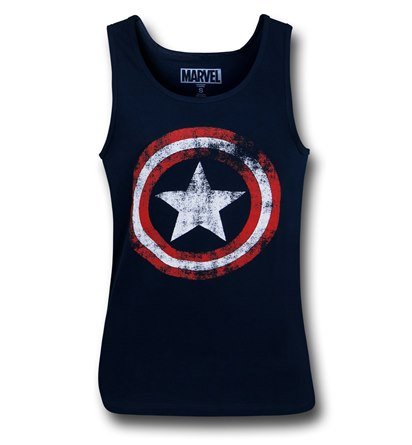 Captain America Distressed Navy Blue Tank Top!