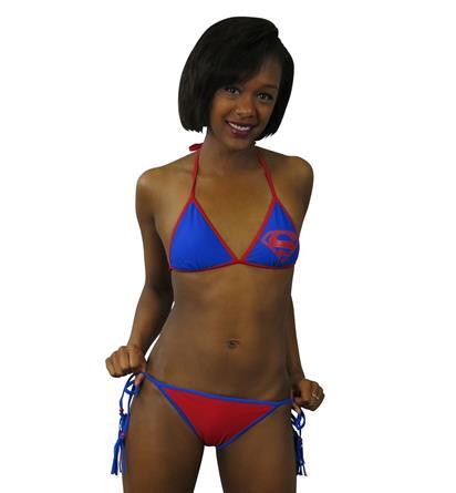 Superman Triangle Tassel String Bikini