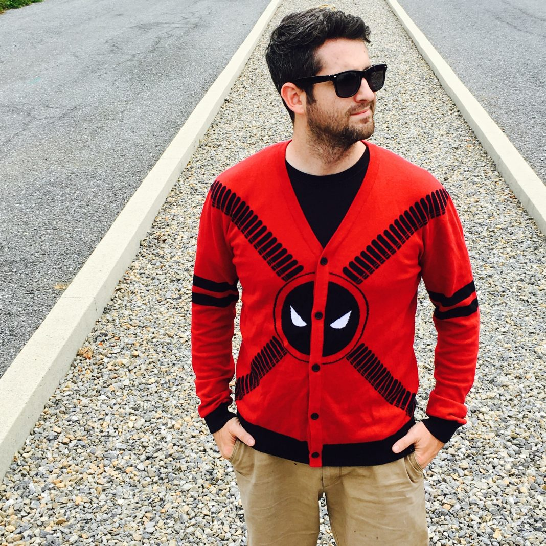 It's the Deadpool Symbol and Straps Men's Cardigan!