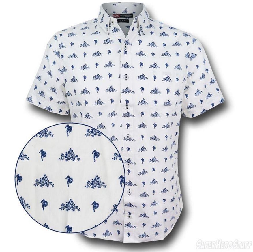 Captain America Floral Print Men's Button Down Shirt!
