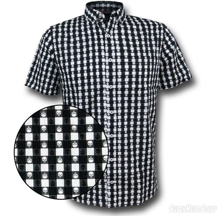 Punisher Plaid Symbol Men's Button Down Shirt!