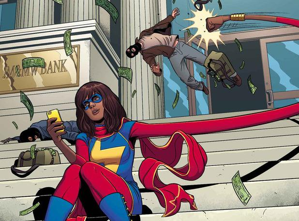 Although she looks different now, that is Kamala looking at her favorite hero.